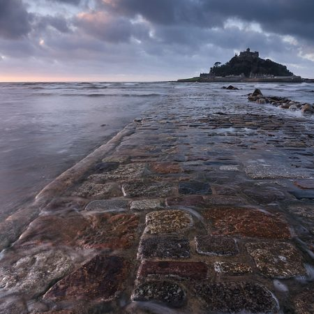 Cornwall, St Michaels Mount, National Trust; sunrise; clouds; causeway;
