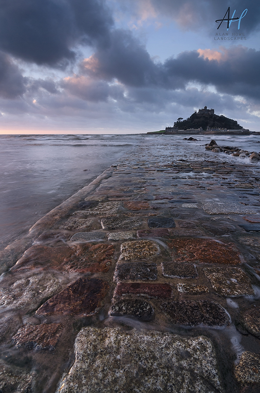Cornwall, St Michaels Mount, National Trust; sunrise; clouds; causeway;