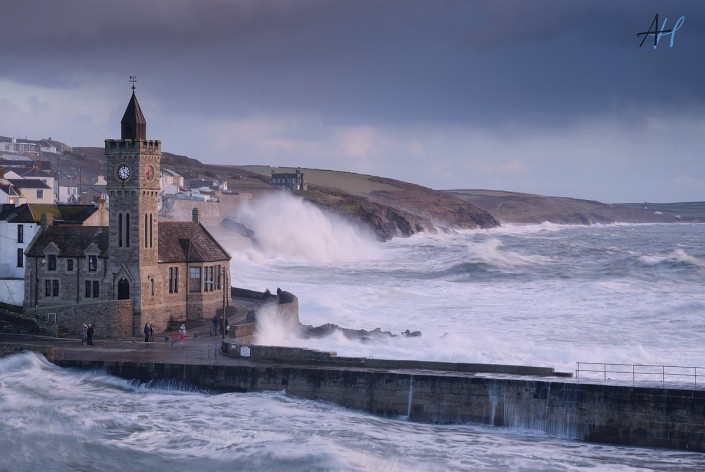 Cornwall, stormy, Porthleven, Clock, sky, sea, rough, pier, cliff, waves