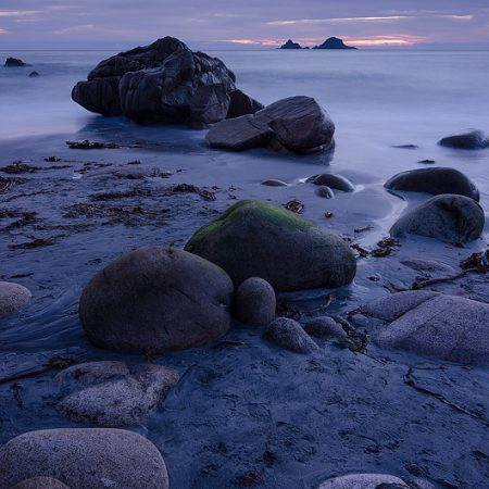 Cornwall; rocks; beach; sunset; pink; dusk