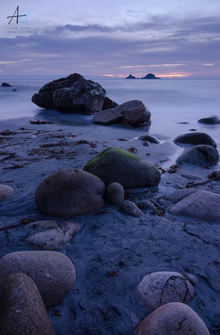 Cornwall; rocks; beach; sunset; pink; dusk