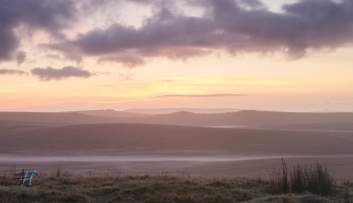 Dartmoor National Park; Devon; photography; sunrise; view; colour; pink;